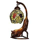 Tiffany Style Schreibtischlampe, 7 Zoll Grape Design Glas Tischlampe, Schlafzimmer Nachttisch Harz Eule Kunst Tischlampen