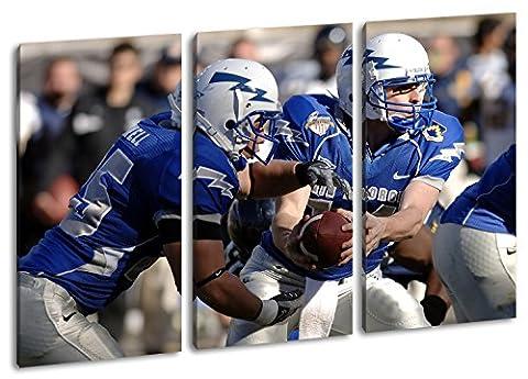 mutige Footballspieler Format: 3-teilig 120x80 als Leinwand, Motiv fertig gerahmt auf Echtholzrahmen, Hochwertiger Digitaldruck mit Rahmen, Kein Poster oder (Michigan Hockey Jersey)