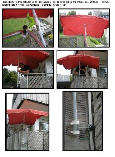 Lot de 2 - Support pour parasol de balcon Ø 25-55 mm pour extérieur ou intérieur Fixation avec 6 + 11 cm Distance Porte-parapluie - Holly breveté - pour fixation au ronde ou eckigen Éléments de 25 à 55 mm avec 5 - réglable multi support - support pivotant à 360 ° avec capuchons en caoutchouc pour fixation kratzfreien - 360 ° - Distance Avec Prises de parasol pour gaine de 25 à Ø 55 mm avec enregistrement Profondeur 13 cm - Distribution de Holly produits Stabielo de