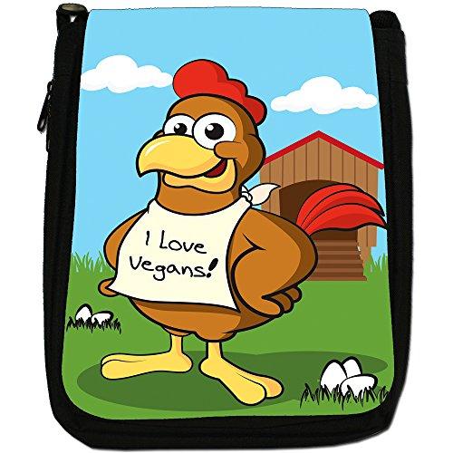 veganismo Vegan Loving Animali Medium Nero Borsa In Tela, taglia M Chicken Wearing I Love Vegans