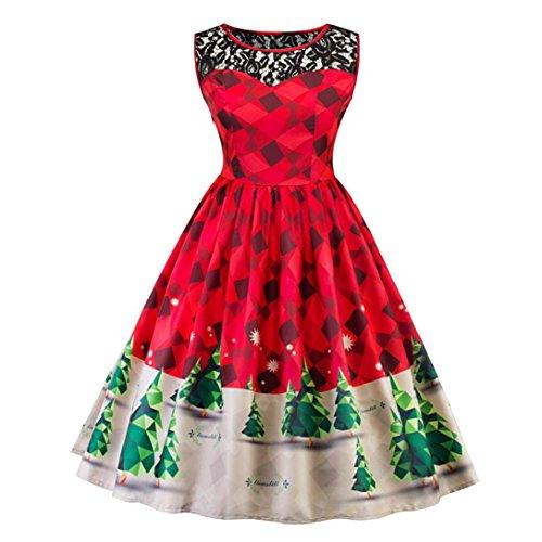 Weihnachten Kleider, GJKK Damen Frauen Elegant Ärmellos Abendkleid Spitze Weihnachtsbaum Firefly Gedruckt karierten Vintage Schnee Party Kleid Swing Kleid (Rot, (Langarm Shirt T Kostüme)
