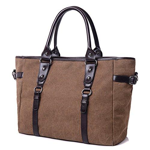 Wewod Damen Handtasche Messeger tasche für lässig oder Schule--37*16*27 cm(19 cm Top-Griff)/Canvas-Material (Khaki) Braun