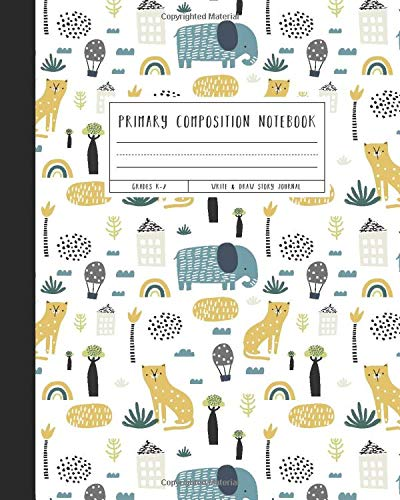 Primary Composition Notebook: Grades K-2 Write & Draw Story Journal, Cheetahs & Elephants