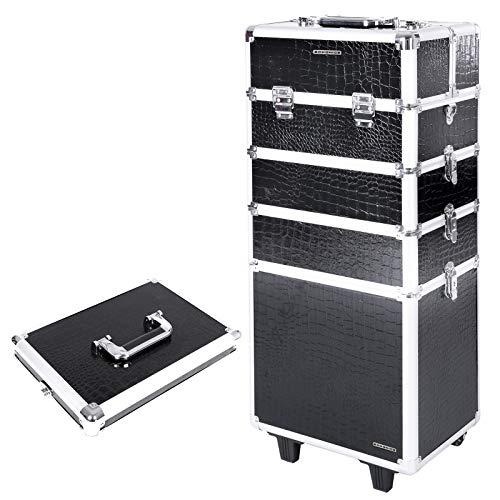 SONGMICS Alu Trolley Kosmetikkoffer Rollen Friseurkoffer Schminkkoffer mit Inhalt Handgepäck Box case Croco 7 in 1 schwarz XXL JHZ06B