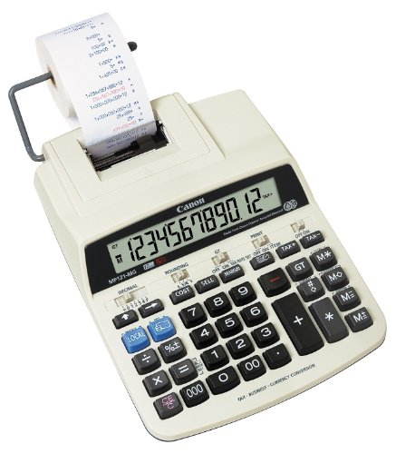 Canon MP121-MG - Calculadora (Escritorio, Impresión, Color blanco, 17,5 x 7,54 mm, 132 x 21,5 mm, Cinta de