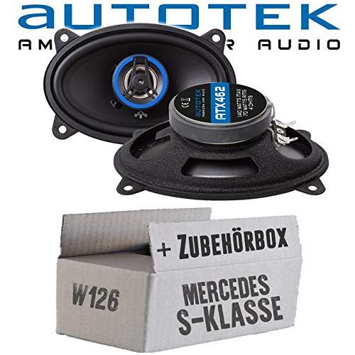 lassse Front Heck - Lautsprecher Boxen Autotek ATX-462 | 2-Wege oval 10x15cm Koax Lautsprecher 4\'x6\' Auto Einbauzubehör - Einbauset für Mercedes W126 S- JUST SOUND best choice for caraudio