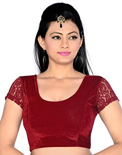 Studio Shringaar polyester Saree Blouse(SIIMWNS1795M_42_Maroon_42)
