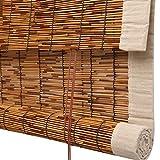 GDMING-Tenda di bambù Avvolgibile Cortina di Cieco Romano Bordatura in Tessuto Impermeabile Protezione Solare Pesante Durevole 3 Stili Personalizzazione Multi-Size (Color : A, Size : 90x220cm)