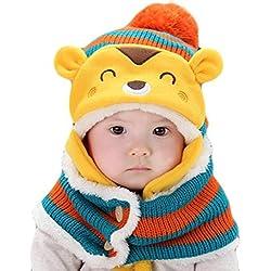 Gorros Bebé,Xinan Invierno Sombrero Lana Bufanda Conjunto Regalo de Navidad (Naranja)