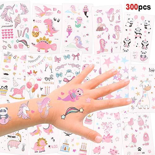 Konsait Nette temporäre Tattoos für Kinder, Mädchen, Jungen, 256 Designs Fake Kindertattoos Aufkleber, Kinder Lieblings-Charakter-Einhorn, Meerjungfrau, Dinosaurier, Kinder Geburtstags Mitgebsel