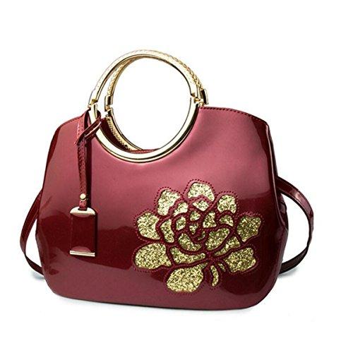 69b249ba3f4e6 Mode Lackleder Handtaschen Glänzende Shell Bag Damen Schultertasche  Umhängetasche Hohle Rosenblüten Burgundy ...