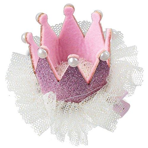 TOOGOO(R) Pince A cheveux Couronne de princesse douce pour les bebes - rose