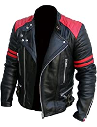 4f3cbbf39934 Men's Brando Classic Biker Red and Black Vintage Motorcycle Real Leather  Jacket