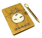 Hillento Vintage mein Nachbar Totoro Plüsch Holzabdeckung Notebook Notizblock Lernbuch Tagebuch Sammelalbum Travel Notebook - mit einem Stift (Lächeln)