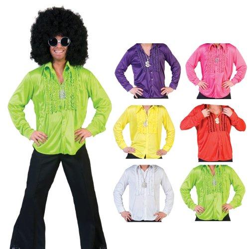 Kostüm Funny Tanz - Hippie Rüschenhemd für Herren - Rot Gr. 52 54
