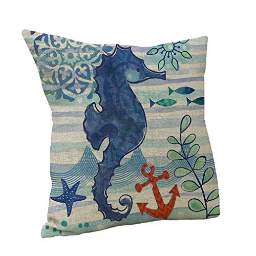 Nunubee cotone e lino, Mare animale tiro cuscino caso cuscino divano letto Home Decor, cotone/lino, Hippocampus, 45 cm x 45 cm