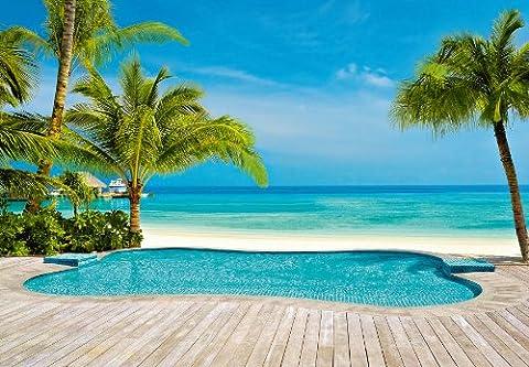 Fototapete Pool am Meer Palmen Sonne Strand Karibik Beach Hotel - Größe 366 x 254 cm, 8-teilig
