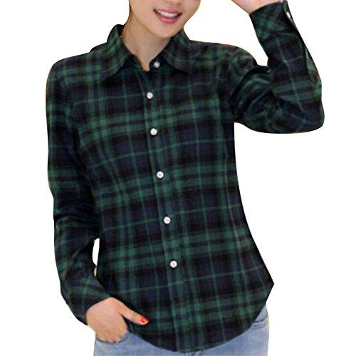 Damen Kariertes Hemd - Langarm Blusen Klassische Tops Lässige Tshirts Täglich Oberteil 7 Farben S / M / L / XL / XXL Yuxin