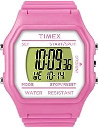 Timex T2N104 - Reloj digital de cuarzo unisex, correa de goma color rosa (luz)