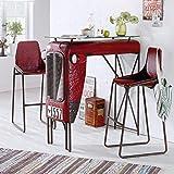 Miavilla 2er-Set Stuhl Traktor Barhocker Loft Industrial Style Metall Rot