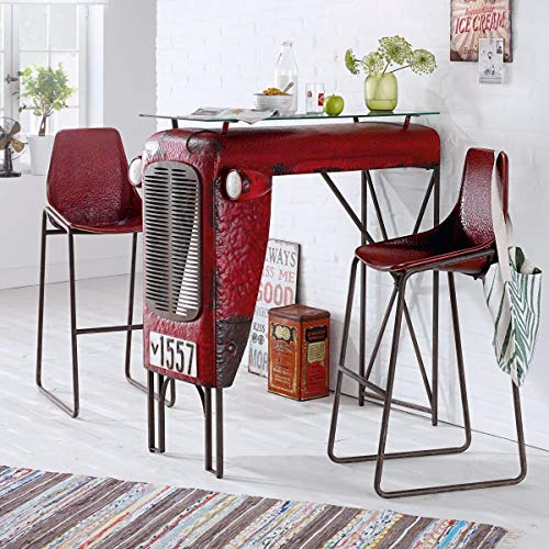 Pureday miaVILLA 2er-Set Stuhl Traktor Barhocker Loft Industrial Style Metall Rot