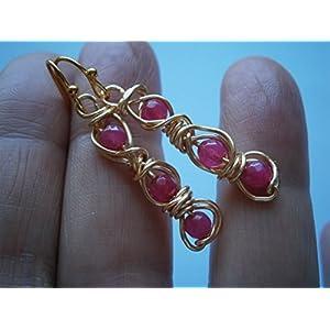 Ohrringe pink Achat Kugeln facettiert Drahtschmuck vergoldet im Geschenk Etui Geburtstagsgeschenk