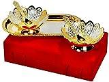 Plateado y chapado en oro con forma de flores latón cuenco y bandeja Set