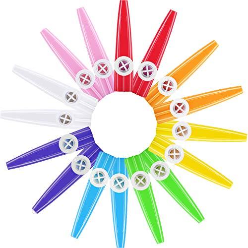 16 Piezas de Kazoos de Plástico 8 Instrumentos Musicales de Kazoo Colorido,...