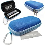 LOVE MY CASE / DURABLE Blue MP3 Player Case, Hard Clamshell Case, Earphone Case, Holder with Metal Carabiner Clip for Apple iPod Nano 7th Generation with Love My Case Cleaning Cloth
