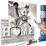 murando Malen nach Zahlen Home & Freiheitsstatue 110x40 cm Malset mit 2 Motiven - Design Geschenk-Tube DIY Für Erwachsene und ambitionierte Kinder ab 12 - Perfekt für Hobbymaler n-A-0473-ab-r