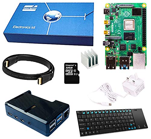 Maker-Sphere Raspberry Pi 3 Model Kit completo Starter B Quad Core con mini tastiera senza fili (SD Card Raspberry Pi B + 16GB + Clear Case + Power Supply Cable + HDMI + 3 pezzi Dissipatore di calore) (Clear) (Black)