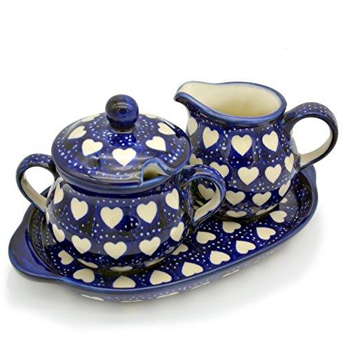 Bunzlauer Keramik Milch- und Zucker-Set mit Untersetzer (Dekor Herzen)
