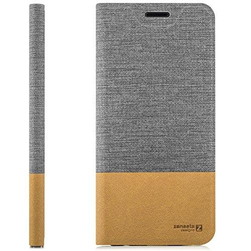 zanasta Designs Tasche Huawei GR3 (P8 Lite SMART) Hülle Flip Case Slim Schutzhülle Handytasche mit Kartenfach, Standfunktion | Grau