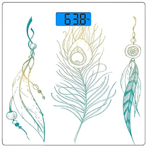 Digitale Präzisionswaage für das Körpergewicht Platz Pfau Ultra dünne ausgeglichenes Glas-Badezimmerwaage-genaue Gewichts-Maße,Ästhetische First Nations Feather und Peacock Tail traditionelles Design -