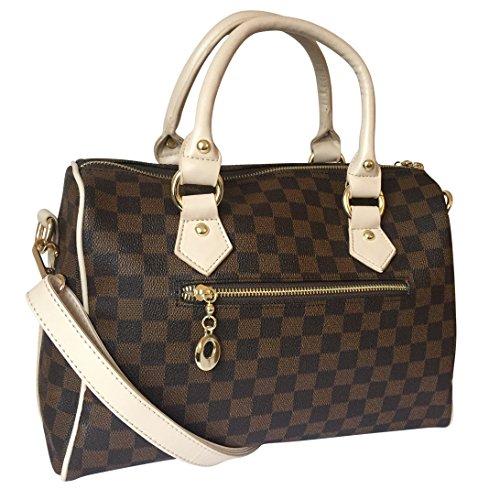 GetThatBag® Crystal Monogramma Sacchetto di spalla della borsa da bowling del barilotto Borse Bowling marrone damier