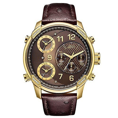 JBW Men's J6353A Limited Edition G4 Leather 0.19 ctw 18k Gold-Plated Stainless-Steel Diamond Watch