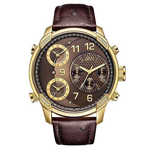 JBW Hombre j6353a edición Limitada G4Piel 0,19Quilates 18K Chapado en Oro Diamante de Acero Inoxidable Reloj