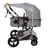 Sonnensegel für Kinderwagen TBoonor Universal Sonnensegel mit UV Schutz/Staubdicht/Winddicht Sonnendach für Kinderwagen und Buggy Sonnensegel mit Tasche (Grau)