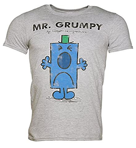 Mens Grey Mr Grumpy Mr Men T Shirt - Grey