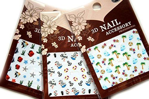 divertimento in tema stickers 3D nail art da sole spiaggia