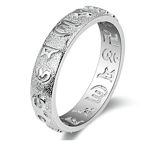 Aooaz Gioielli anelli da uomo anello argento 925 Om Mani Padme Hum Thin Ring anelli vintage Argento