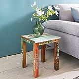 FineBuy Beistelltisch SARUT 40 x 40 x 45 cm Mango Massiv Holz Tisch | Telefontisch Shabby Vintage Design | Holztisch quadratisch modern bunt | Ablagetisch Echtholz