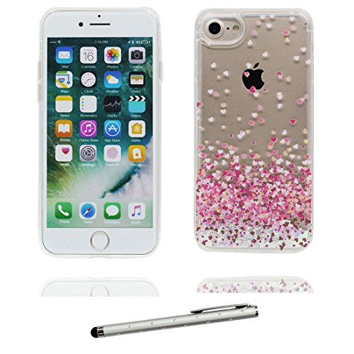 """iPhone 7 Plus Hülle, iPhone 7 Plus Handyhülle Cover 5.5"""", Fee- Liquid Fließendes Glitzer Bling Bling Floating sparkles, iPhone 7 Plus Case, Fariy Shell -Anti-Beulen und Touchstift # 1"""