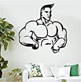 adesivo murale Strong Muscle Man Wall Decal Bodybuilding Fitness Sport Vinyl Sticker Gym Decoration Muscled Sport Man Vinyl Wall Sticker