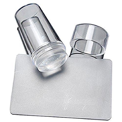 Stamper Nagel,Worsendy damen Stamper Modell Nail Printed Schablone Nail Art Stamping Kit mit Schaben Messer Set Silikon DIY Nail Stempel Platte Nail Art Tools (Stamper +Schaber)