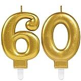Carpeta 2X Zahlenkerzen * Zahl 60 * in Gold | 11cm x 9cm groß | Deko Goldene Hochzeit Jubiläum Geburtstagskerze Kerze Geburtstag
