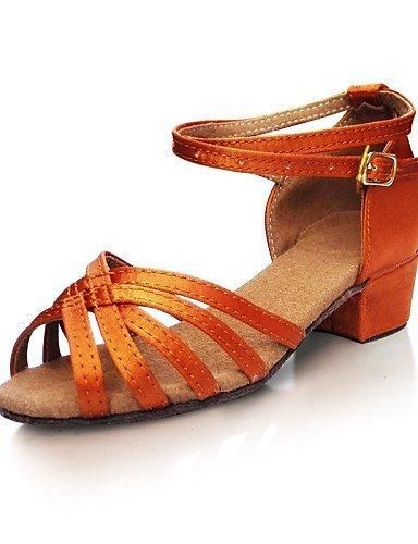 ShangYi Chaussures de danse ( Chocolat ) - Non Personnalisables - Talon Bas - Satin -Latine / Jazz / Baskets de Danse / Moderne / Samba /