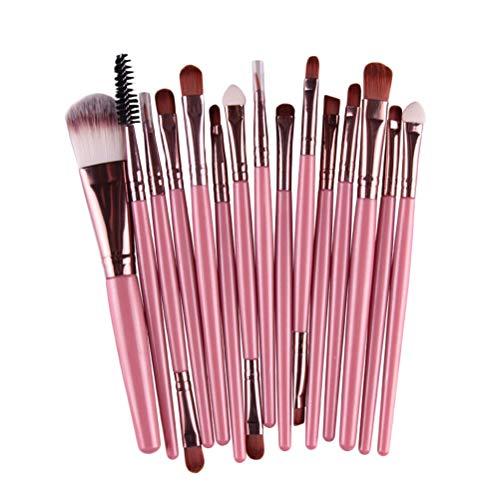 15 pcs poignée en plastique poils en nylon souple maquillage brosse cosmétiques poudre blush pinceau kit pour femme (rose et café)