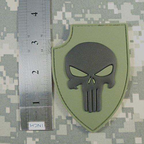 Olive Drab Green PVC 3D Rubber Punisher Skull USA Sealteam