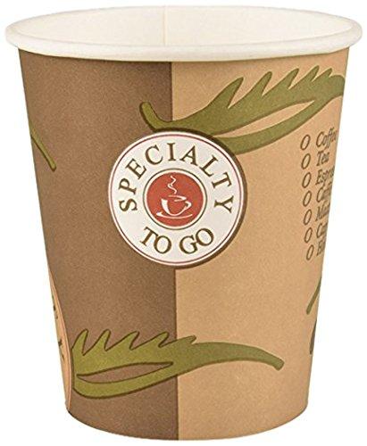 Papstar Hartpapierbecher/Papierbecher To go, (50 Stück), 0.2 l, stabil, beschichtete Pappe, ideal für unterwegs, optional ist ein Deckel erhältlich, für Heißgetränke (Kaffee, Tee, Glühwein) #14808